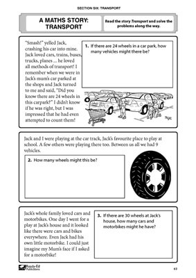 Solving Maths Problems: Year 1-2 - Transport Story Activity Sheet