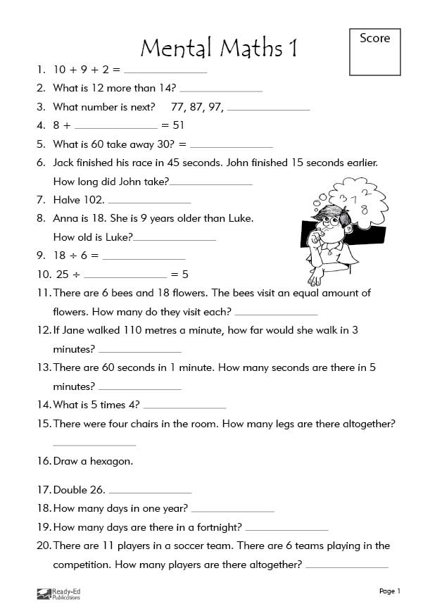 Mental Maths! Activity Sheets Ready-Ed Publications